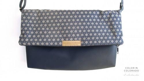 Handbag with Geometric stars on blue