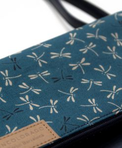 Handbag with Grey Dragonfly on Dark Blue