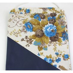 Drawstring Backpack with Big Flowers on Blue