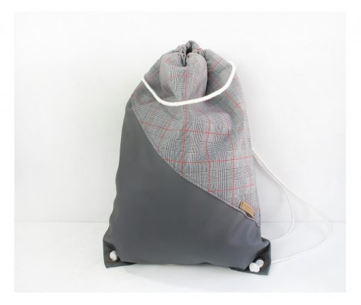 Drawstring Backpack with Stripes on Grey