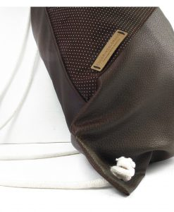 Drawstring Backpack with White Dots on Brown