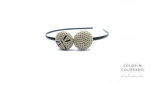 Duo Hair Band with Blue Dragonfly with Dots on Grey