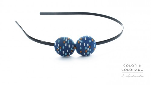 Duo Hair Band with Colored Dots on Dark Blue