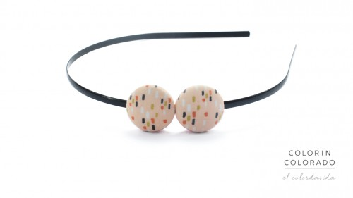 Duo Hair Band with Colored Dots on Light Pink