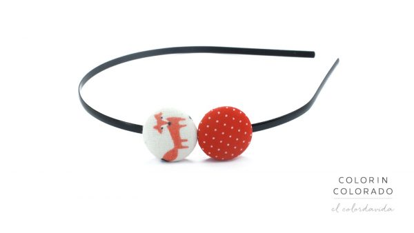 Duo Hair Band with Fox and White Dots on Red