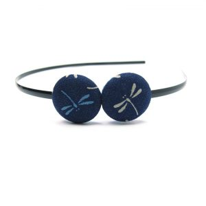 Duo Hair Band with Grey Dragonfly on Dark Blue