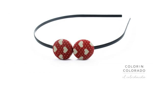 Duo Hair Band with Grey Heart White Dots on Red
