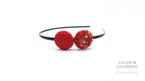 Duo Hair Band with Pink Rose White Dots on Red A