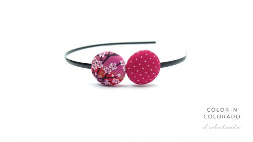Duo Hair Band with Pink White Japanese Flower on Pink