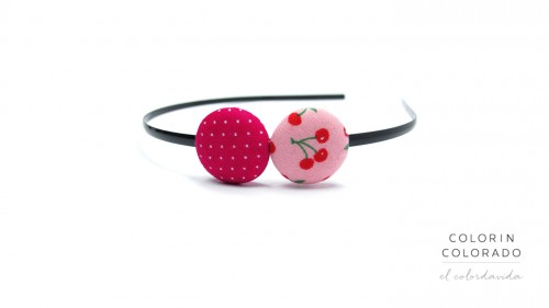 Duo Hair Band with Red Cherries on Pink