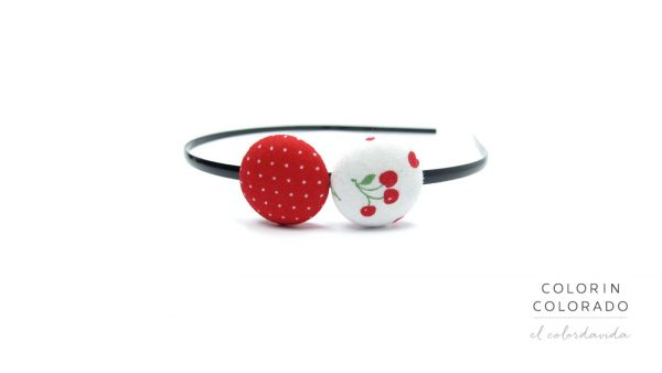 Duo Hair Band with Red Cherries on White