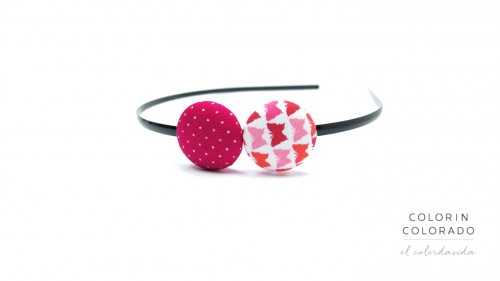 Duo Hair Band with Red Pink Butterfly on White