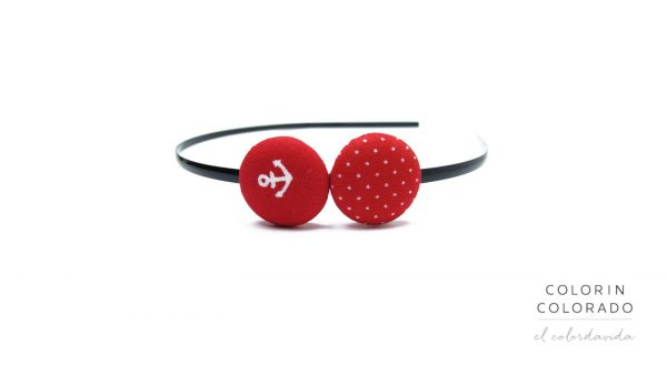 Duo Hair Band with White Boat Anchor on Red A