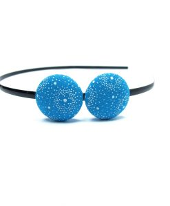Duo Hair Band with White Flower on Sky Blue