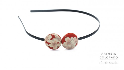 Duo Hair Band with White Japanese Flowers on Red