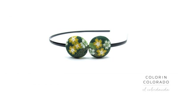 Duo Hair Band with Yellow White Japanese Flower on Dark Green