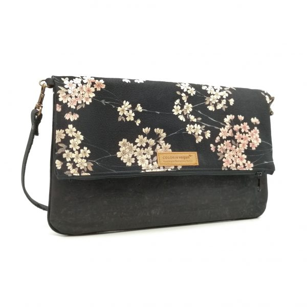 Cork handbag vegan black with Japanese cherry flowers