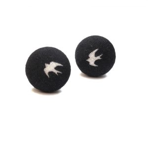 Earrings with white swallow on black