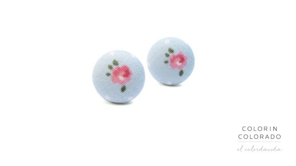 Earrings Pink Rose with flowers and green leafs on light blue