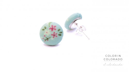 EAR-BXL-134C-FL Earrings Pink Rose with flowers and green leafs on light blue