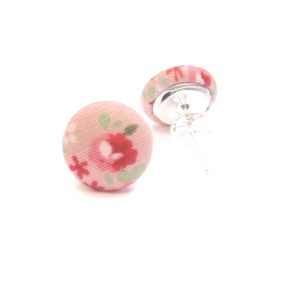 Earrings Pink Rose with flowers and green leafs on pink