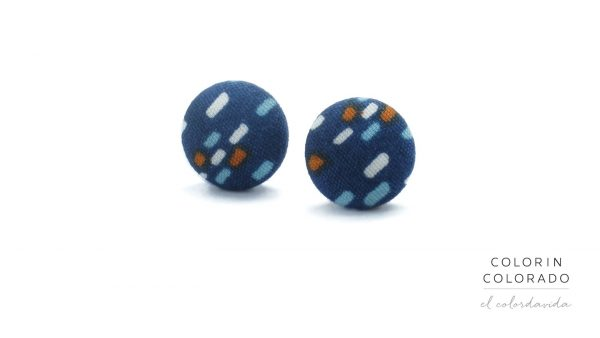Earrings with Colored Dots on Dark Blue