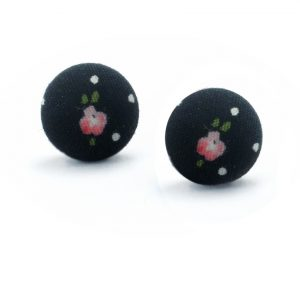 Earrings with Flower on Black