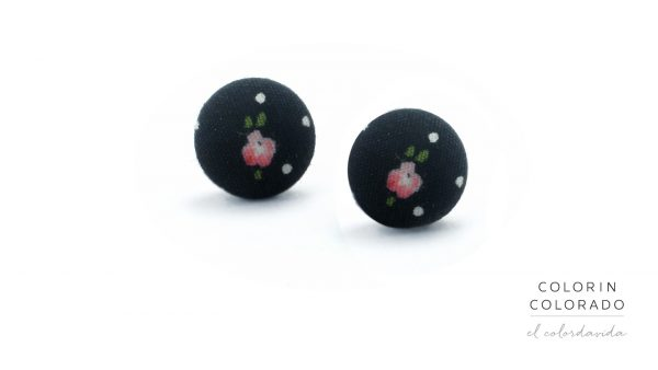 Earrings with Flower on Black