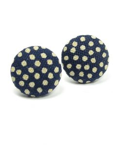 Earrings with Grey Dots on Dark Blue