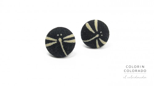 Earrings with Grey Dragonfly on Black