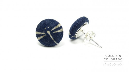 Earrings-with-Grey-Dragonfly-on-Dark-Blue-1