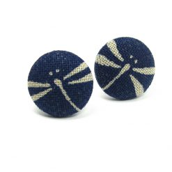 Earrings with Grey Dragonfly on Dark Blue