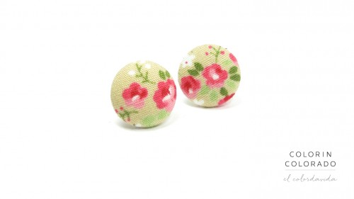 Earrings with Pink Rose White Dots on Grey