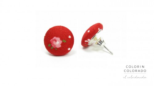 Earrings-with-Pink-Rose-White-Dots-on-Red-A-1