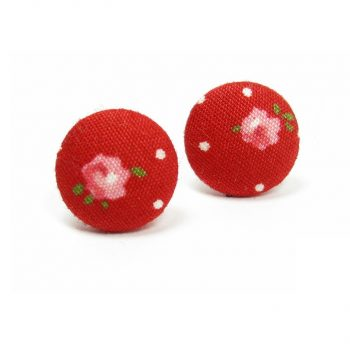Earrings with Pink Rose White Dots on Red A