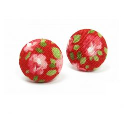 Earrings with Pink Rose White Dots on Red B