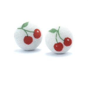 Earrings with Red Cherries on White