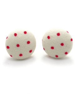 Earrings with Red Dots on White