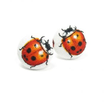 Earrings with Red Ladybug on White