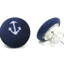 Earrings with White Boat Anchor on Dark Blue