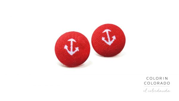 Earrings with White Boat Anchor on Red A