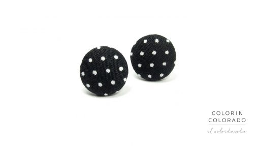 Earrings with White Dots on Black