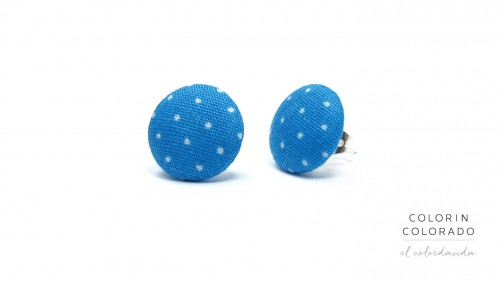 Earrings with White Dots on Blue