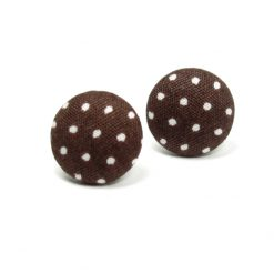 Earrings with White Dots on Brown