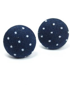 Earrings with White Dots on Dark Blue