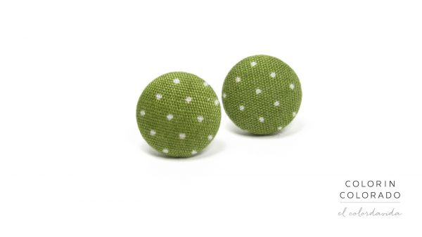 Earrings with White Dots on Green