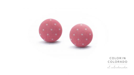 Earrings with White Dots on Light Pink