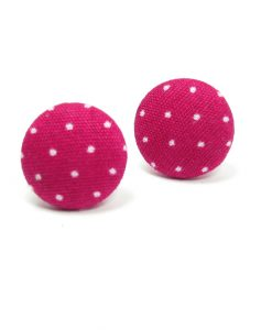 Earrings with White Dots on Pink