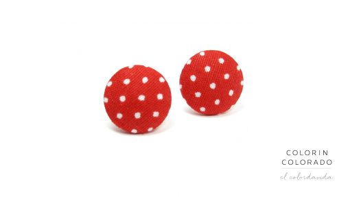 Earrings with White Dots on Red