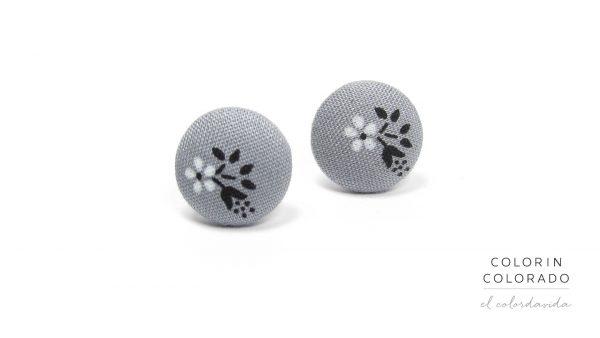 Earrings with White Flower Black Leaf on Grey